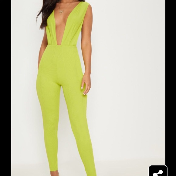 3d13be6c9349 Pretty Little Thing Lime Bandage Plunge Jumpsuit